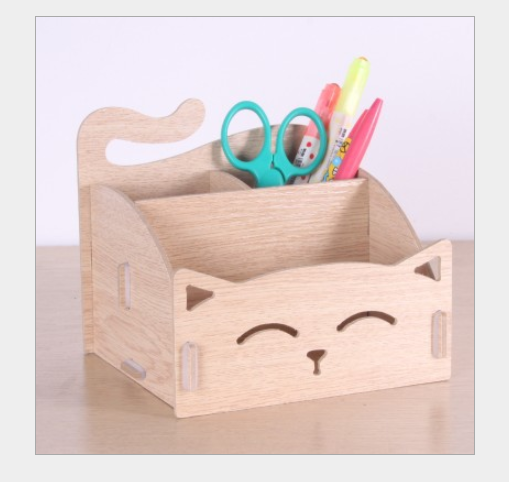 Hộp đựng bút gỗ lắp ghép hình mèo